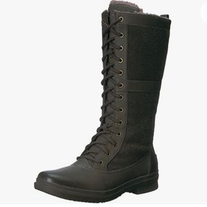 UGG Elvia boot-grey w fabric and leather shearling